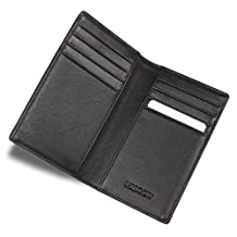 HISCOW Bifold Credit Card Holder Black with 8 Slots - Italian Calfskin