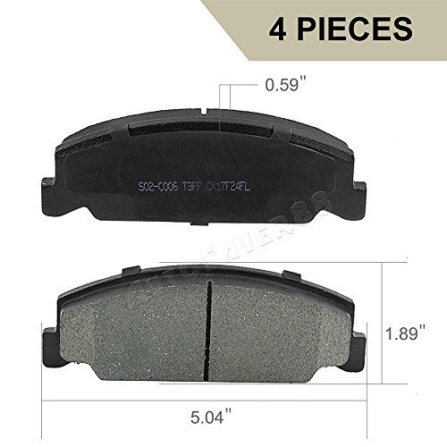 Front Ceramic Brake Pads for Honda Accord 1984 1985 Honda Civic 1996-2000 Honda CRX 1988-1991 Prelude Low-Dust Quiet Brake Pad Set for Cars Trucks (Honda Prelude Brake)