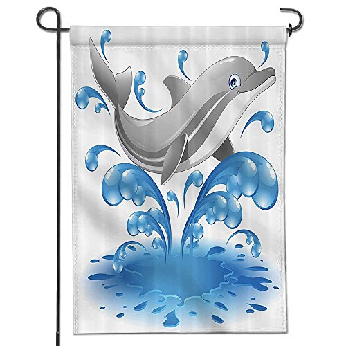 SOCOMIMI Garden Flag Jumping Dolphin Animal Character Cartoon Water Splash Children Summer Bathroom Home Sweet Home Double Sided Decorative Flags for Outdoors-12