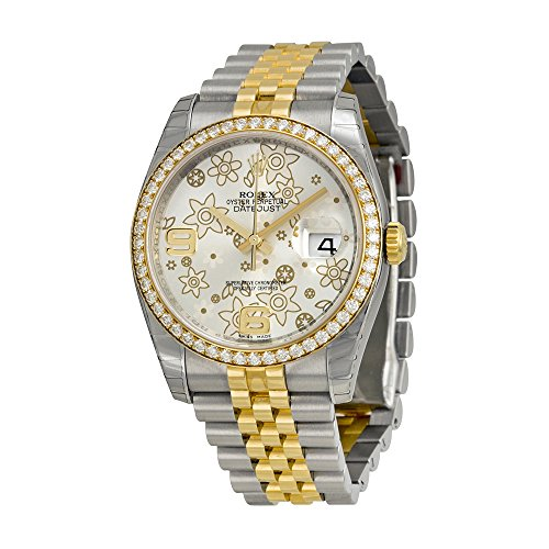 Rolex Datejust Silver Floral Dial Automatic Stainless Steel and 18kt Yellow Gold Ladies Watch 116243SFAJ