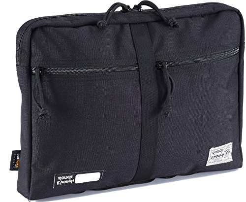 Rough Enough CORDURA 13.3 inches Laptop Tablet Messenger Computer Bag Sleeve Case for Macbook Pro Air Document Briefcase Organizer with Zipper Pockets Compartments for Men Women Business Travel Black by RE ROUGH ENOUGH