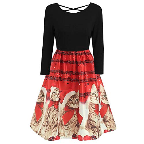 Franterd Christmas Women Dress, Women's Vintage Christmas Cats Musical Notes Print Party Retro A-Line Swing Dress (L, Red) ()
