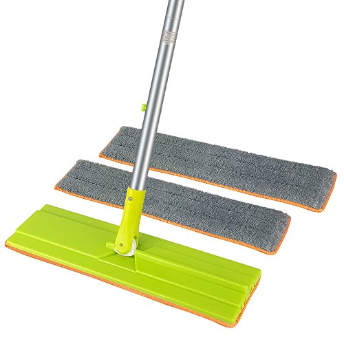 EGOFLEX Microfiber Floor Mop, Duster 16.5 Flat Frame with Stainless Steel Handle for Wet and Dry Mopping on All Surface and Hardwood Laminate Floor (3 Reusable Mop Pads)