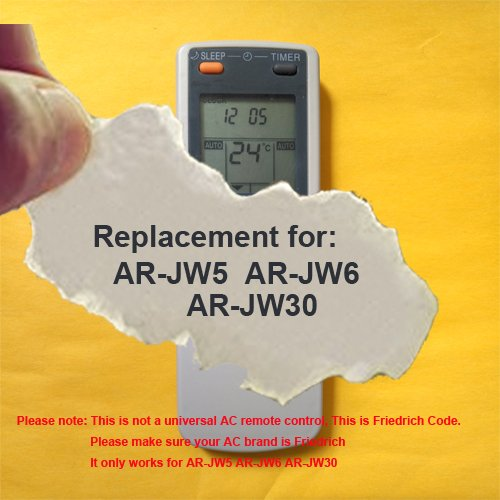 Replacement for FRIEDRICH Air Conditioner Remote Control Model Number: AR-JW5 AR-JW6 AR-JW30 (Display in Celsius but it also can work for Fahrenheit display AC) Friedrich Air Conditioner Accessories
