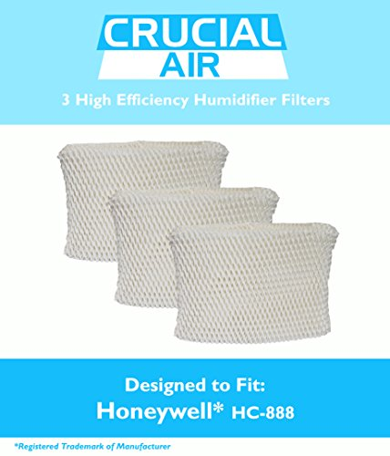 3 Honeywell HC-888 & Duracraft D88 Humidifier Filter Fits DCM-200, DH-888, DH-890, DH-890C, DCM-891B, DCM-891S (AC-888),HCM-890, HCM-890B, HCM-890C, HCM-890-20 (AC-888), HCM-890-MTG & S35E-A, Designed & Engineered by Crucial Air