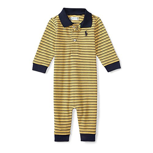 (Ralph Lauren Baby Boy's Striped Mesh Polo Coverall Size 6M Yellow/Navy )