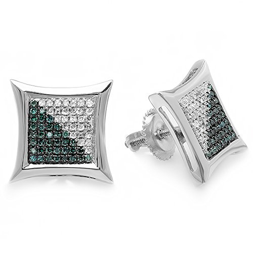 rling Silver White & Blue Round Diamond Micro Pave Setting Kite Shape Stud Earrings ()