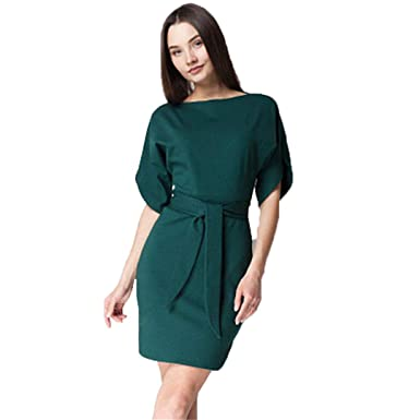 28a43109efd6f Casual Style Solid Sashes Autumn Dress Women O-Neck Short Sleeves Knitted  Dress Split Sleeve