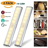 Motion Sensor Light Cabinet Lights,USB Rechargeable 10 LED Cabinet Lighting, Magnetic Removable Stick-On Anywhere for Closet/Wardrobe/Drawer/Cupboard, Warm White Light, Silver, 2 Pack