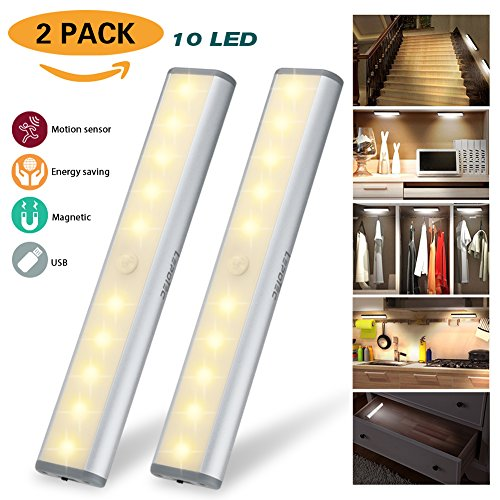 Motion Sensor Light Cabinet Lights,USB Rechargeable 10 LED Cabinet Lighting, Magnetic Removable Stick-On Anywhere for Closet/Wardrobe/Drawer/Cupboard, Warm White Light, Silver, 2 Pack - Usb Light Sensor