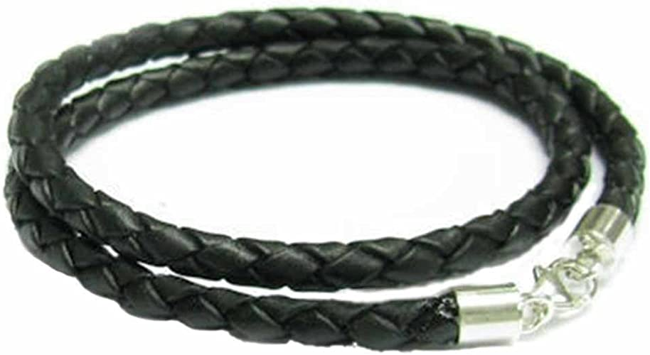 """3mm Grey Braided Leather Sterling Silver Necklace Or Wristband 16/"""" 18/"""" 20/"""" 22/"""""""