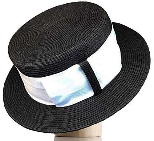 Melniko City Women's Straw Boater Summer Hat Flat Top Retro 1920 (Black Diamond) - Straw Retro Hat
