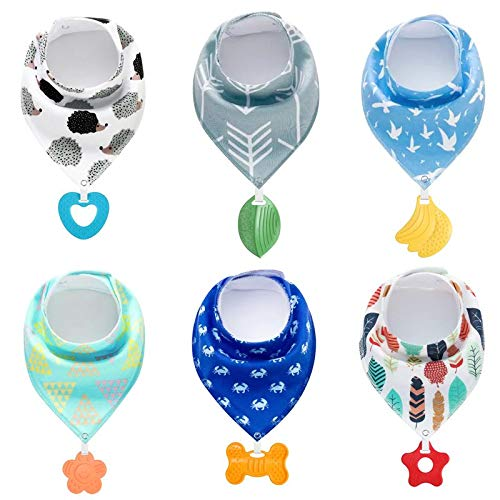 PandaEar Baby Bandana Drool Bibs 6-Pack with Teething Toys, Super Absorbent, 100% Organic Cotton, Neutral Color for Boys & Girls (Neutral) ()