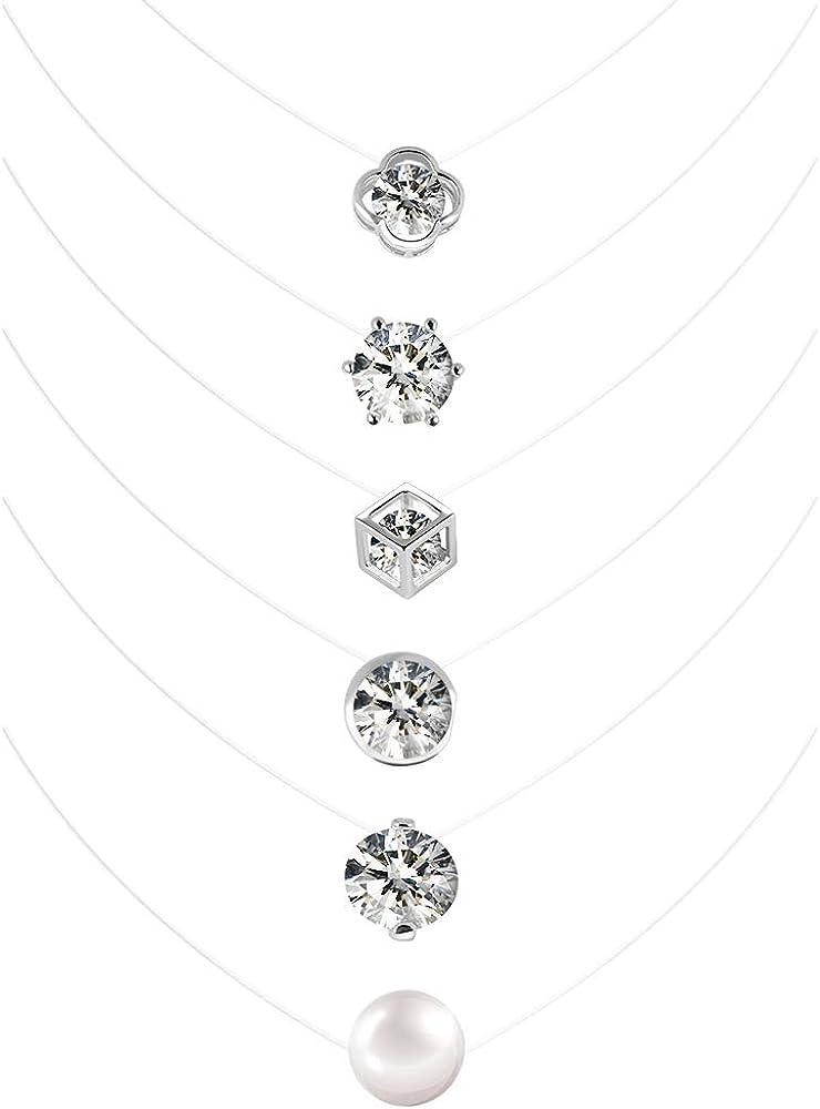 Collares con Cadena Transparente 6PCS Gargantilla Invisible de Perla Nylon Collar Transparente con Brillante para Mujer Niña 6mm 8mm 10mm