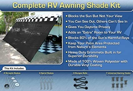 RV Awning Shade Kit Complete 8x18 Black
