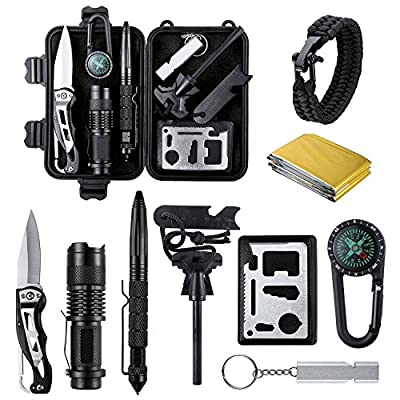 Survival Kit, Emergency Survival Kits 14 in 1, Survival Gear Kit Outdoor Survival Tool with Fire Starter, Whistle, Knife, Flashlight, Emergency Blanket etc for Hiking, Camping, Hunting (14 IN 1) by Defler