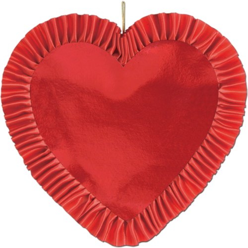 Beistle 77076-R Red Heart with Satin Ribbon, 13-Inch, 1 Per (Hearts Satin Ribbon)
