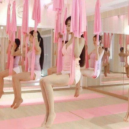 KIKIGOAL 5M Yoga Pilates Aerial Silk Kit Yoga Swing Aerial Yoga Antigravity Hammock Trapeze Silk Fabric for Yoga Strap Bodybuilding (sakura pink)