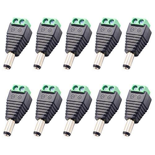 ThreeBulls 10Pcs Plug Barrel Adapter 12V DC Power Connector 5.5mm x 2.1mm Power Jack Socket for Led Strip CCTV Security Camera Cable Wire Ends(10 x Male)