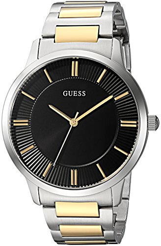 GUESS Men's Stainless Steel Casual Bracelet Watch, Color: Silver/Gold/Black (Model: U0990G3) ()