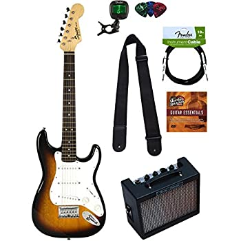 Squier by Fender Mini Strat Electric Guitar - Sunburst Bundle with Amplifier, Instrument Cable, Tuner, Strap, Picks, Austin Bazaar Instructional DVD, and Polishing Cloth
