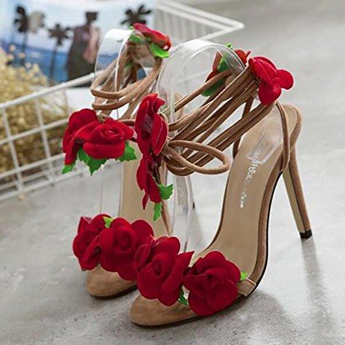 Sandali Fiore Donna Bininbox Con Incrocio Scarpe Con Tacco Alto E Albicocca