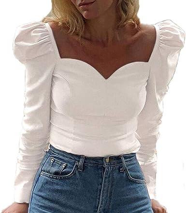 Mujer Color Sólido Camiseta - Manga Larga Cuello Cuadrado Blusa Moda Manga Abullonada T-Shirt Otoño Primavera Casual Camisa Top: Amazon.es: Ropa y accesorios