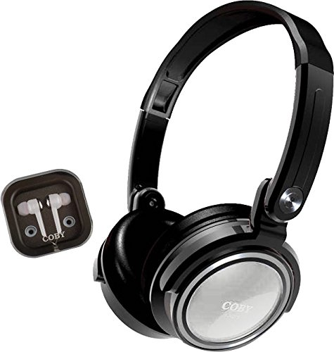 Coby White Headphone - Coby CVH-800-WHT 2-In-1 Jammerz Xtra Headphones and Earbuds with Case, White
