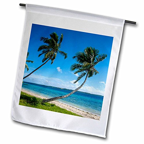 Custom Fringed Square Pillow - 3dRose Danita Delimont - Tonga - Palm fringed white sand beach on an islet of Vavau, Tonga - 12 x 18 inch Garden Flag (fl_250351_1)