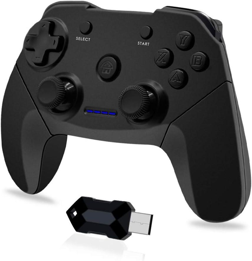 Clevo Mando para PC, Mando PC Gaming 2.4G Bluetooth Mando Inalámbrico Vibración Dual Compatible para PC/PS3/Android/TV Box (OTG Función)