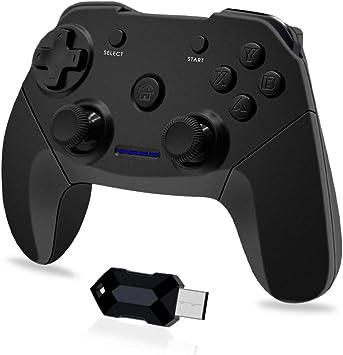 Todo para el streamer: Clevo Mando para PC, Mando PC Gaming 2.4G Bluetooth Mando Inalámbrico Vibración Dual Compatible para PC/PS3/Android/TV Box (OTG Función)