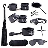 Bed Restraints - Includes Satin Blindfold, Velvet Draw String Bag and Feather Tickler - Adjustable to Fit All Bed Sizes - Strong and Durable Exercise Bands - Suitable for Both Men and Women (Black)