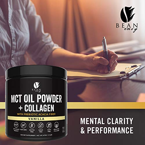 MCT Oil Powder + Collagen + Prebiotic Acacia Fiber - 100% Pure MCT's - Perfect for Keto - Energy Boost - Nutrient Absorption - Healthy Gut Support - Vanilla by Bean Envy (Image #5)
