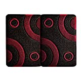 Smartcatcher Mats Bullseye Collection Waterproof Non Slip Kitchen Mats Set of 2, Red Wine And Black Color