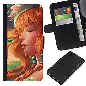 All Phone Most Case / Oferta Especial Cáscara Funda de cuero Monedero Cubierta de proteccion Caso / Wallet Case for Sony Xperia Z1 L39 // Sexy Redhead