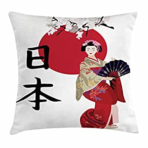 Japan Throw Pillow Cushion Cover by Lunarable, Illustration with a Geisha Cherry Blossoms and Kanji Letters Asian Kimono Costume, Decorative Square Accent Pillow Case, 40 X 40 Inches, Multicolor
