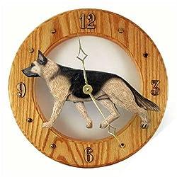 Michael Park TAN with Black Saddle German Shepherd Dog Wall Clock-Light Oak