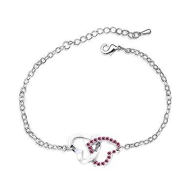 Bracelet Double Coeurs Cristaux Swarovski Elements Plaqué Or Blanc Bijou  Femme