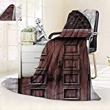vanfan All-Season Super Soft Blanket Arched Wooden Venetian Door Islamic Royal Ottoman Elements European Culture Decor Brown,Silky Soft,Anti-Static,2 Ply Thick Blanket. (60''x36'')