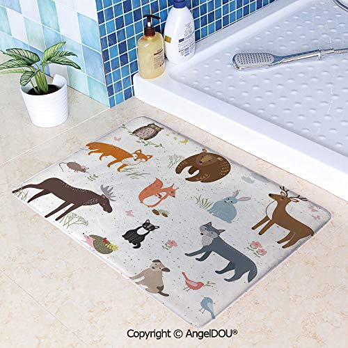 SCOXIXI Absorbent Super Cozy Rectangle Kitchen Bathroom Carpet Cute Animals in Spring Meadow Childish Woodland Fauna Kids Baby Room Nursery Decorative Washable Porch Floor Mat Car W19.6xL31.5(inch)