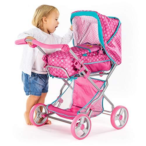 Hauck 2in1 Doll's Pram Julia   Reclining Backrest   Handle Adjusts 43-73cm   Foldable Design   Big Under-Seat Shopping Basket - Birdie Pink ()