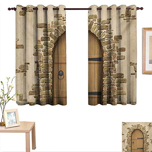 (Superlucky Rustic Thermal Insulating Blackout Curtain Wine Cellar Entrance Stone Arch Ancient Architecture European Building 55