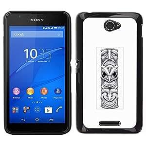 Caucho caso de Shell duro de la cubierta de accesorios de protección BY RAYDREAMMM - Sony Xperia E4 - tótem indio nativo americano