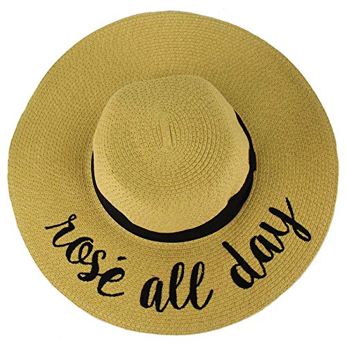 C.C Fun Verbiage Elegant Wide Brim 4\ Summer Derby Beach Pool Floppy Dress Sun Hat Natural (Rose All -