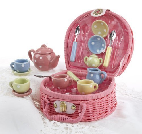 17 Piece Porcelain (17-Piece, Small, Porcelain Polka Dot Tea Set in Wicker)