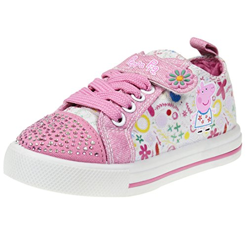 Pig Floral (Peppa Pig Kids Toddler Girls Jeweled Toe Pink Floral Canvas Sneakers with Lace Strap, Size 5)