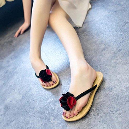 Goodsatar Mujeres Bohemia Zapatos Zapatos Plana Flor Ocio Señora Sandalias Zapatos De Playa Al Aire Libre Rojo