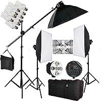 Softbox Studio Set 2850W -15 lampadine illuminazione Continuo Softbox Kit con 3x portalampada/3x Softbox(50x70cm)/15x lampade/2x Supporto/1x borsa per il trasporto per Studio Fotografico Professionale