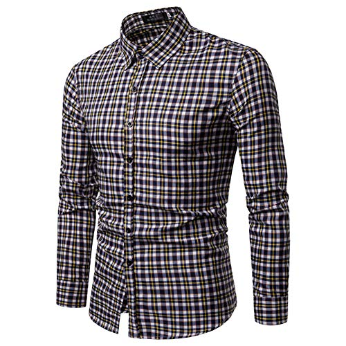 Zyh Camisas para Hombre, Camisas de Manga Larga con Cuello extendido a Cuadros Trend Slim Fit Camisa Casual Hipster para...