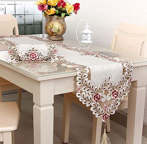 (LeLehome Classic Flowers Embroidered Lace Short Satin Floral Washable Fabric Table Runner Table Top Decoration Tapestry - -Dark Rose (16 inch x 72 inch))